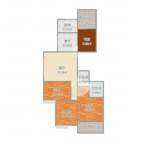 名仕花园4室2厅2卫1厨139.00㎡户型图