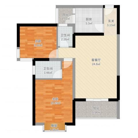五洲国际2室2厅2卫1厨84.00㎡户型图