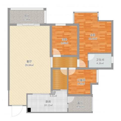 五星华府3室1厅1卫2厨137.00㎡户型图
