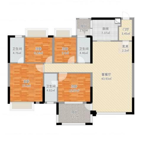 东方明珠花园商住小区4室2厅3卫1厨158.00㎡户型图