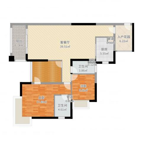 保利高尔夫郡别墅2室2厅2卫1厨128.00㎡户型图