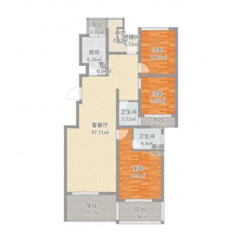 林隐天下3室2厅2卫1厨159.00㎡户型图
