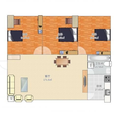 美仁新村3室1厅1卫1厨509.00㎡户型图