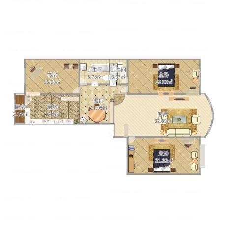 荣耀天地E栋4单元1门户型3室2厅2卫2厨170.00㎡户型图