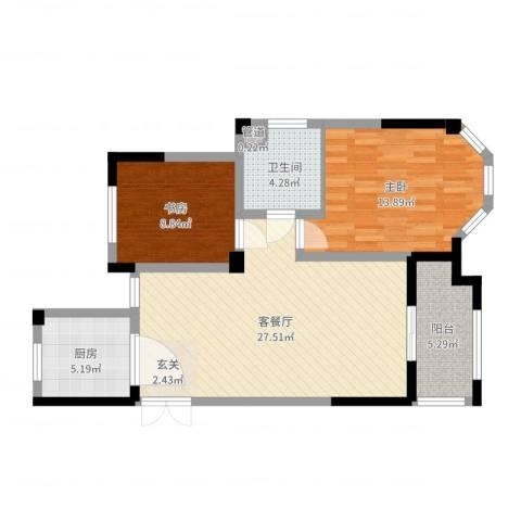 金美林花园2室2厅1卫1厨82.00㎡户型图