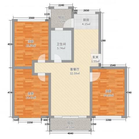 欧美世纪花园3室2厅1卫0厨110.00㎡户型图