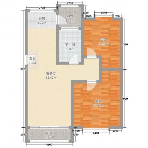 欧美世纪花园2室2厅1卫0厨95.00㎡户型图
