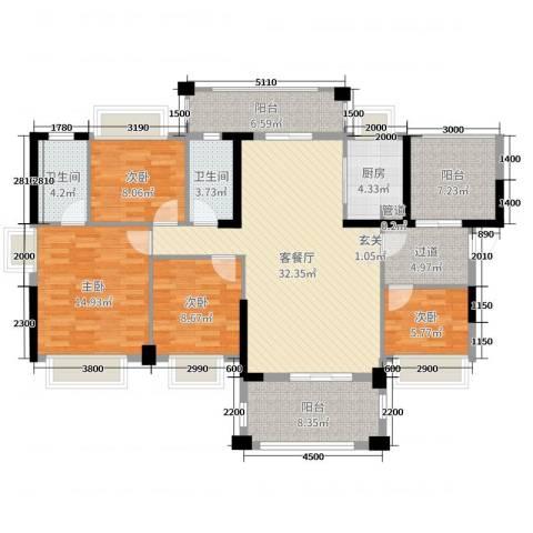 侨城水岸4室2厅2卫1厨140.00㎡户型图