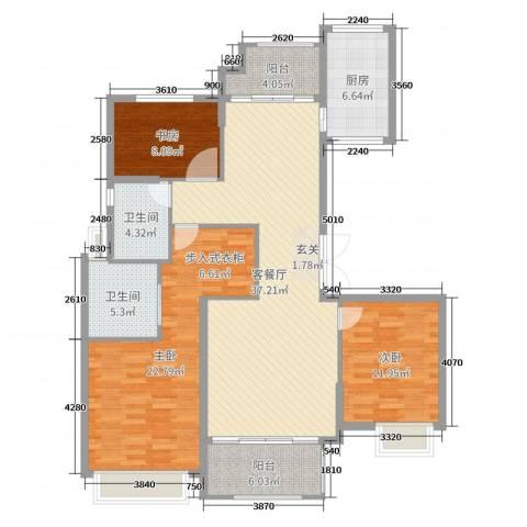 开投置业公元世家3室2厅2卫1厨133.00㎡户型图