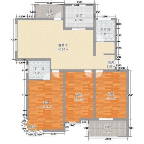 珍贝金鼎国际3室2厅2卫1厨132.00㎡户型图