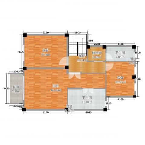 雅戈尔新东城3室0厅2卫0厨185.00㎡户型图