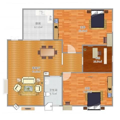 汇银奥林匹克花园3室2厅1卫1厨158.00㎡户型图