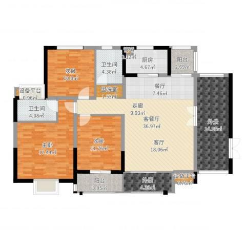 华强城・卡塞雷斯3室2厅2卫1厨147.00㎡户型图
