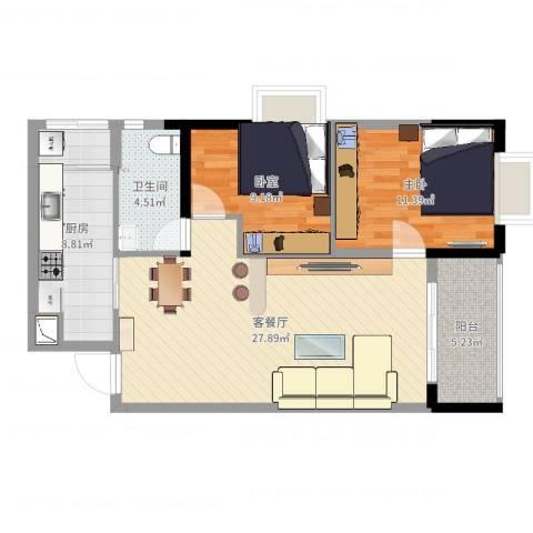 西街苑二期1室2厅1卫1厨84.00㎡户型图