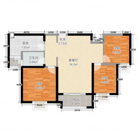 实地・玫瑰庄园3室2厅1卫1厨108.00㎡户型图