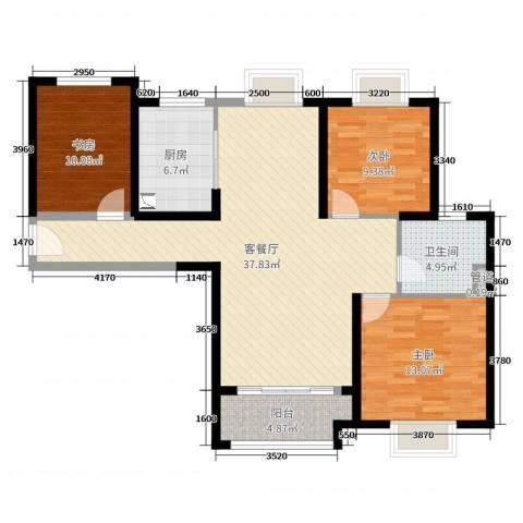 实地・玫瑰庄园3室2厅1卫1厨109.00㎡户型图