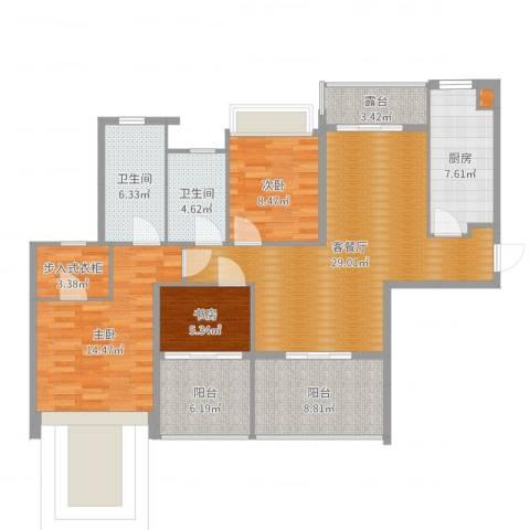 中海名钻3室2厅2卫1厨122.00㎡户型图