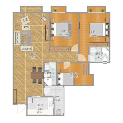 南延新苑3室1厅2卫1厨129.00㎡户型图