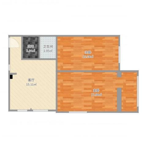 十里堡北里2室1厅1卫1厨62.00㎡户型图