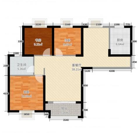 实地・玫瑰庄园3室2厅1卫1厨110.00㎡户型图