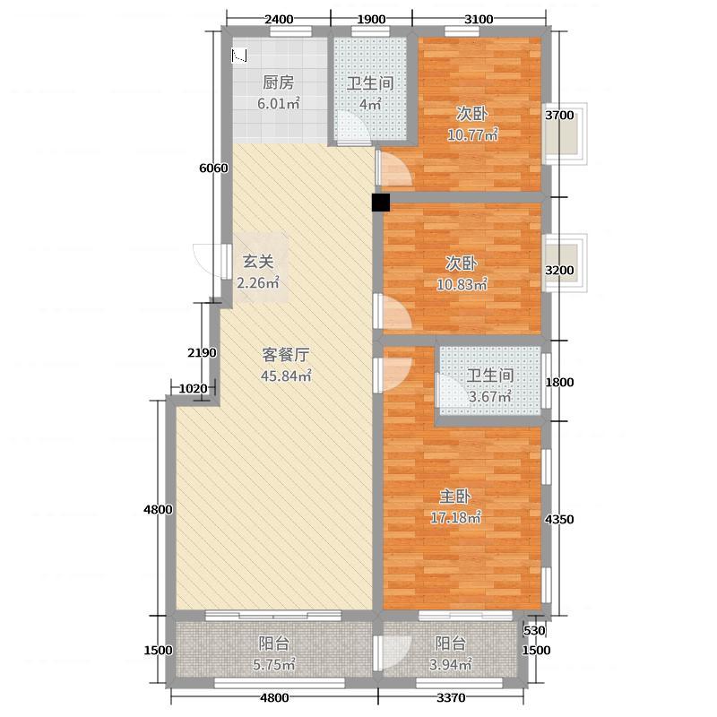 紫园132.00㎡高层1号楼标准层C1户型3室3厅2卫1厨