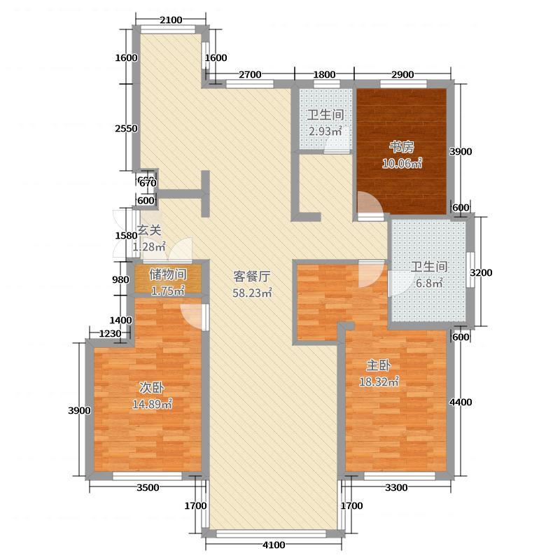 钻石湾147.00㎡洋房D户型2室2厅2卫1厨