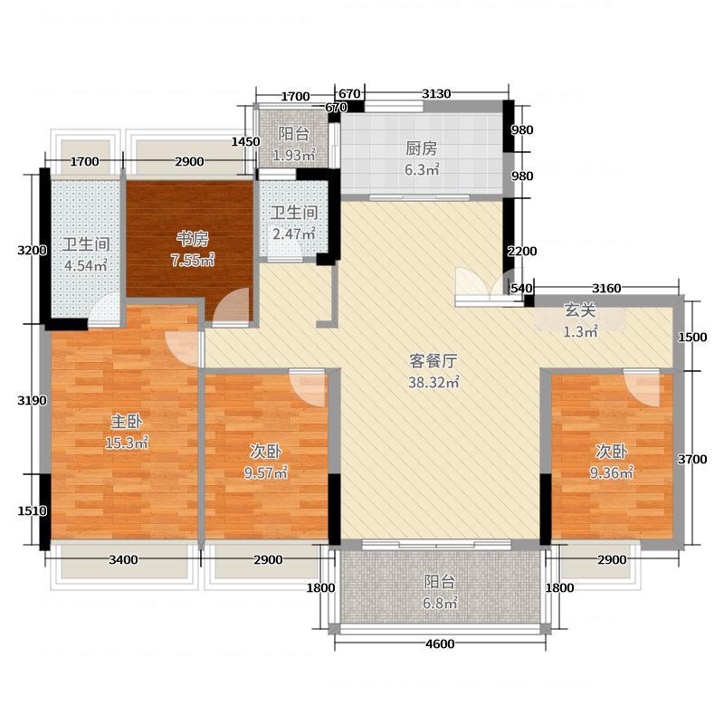 碧桂园・翡翠郡138.00㎡yj140户型4室4厅2卫1厨
