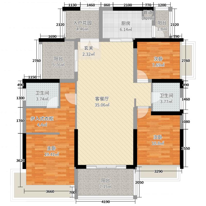润城・双璧湾138.00㎡二期6栋B户型3室3厅1卫2厨