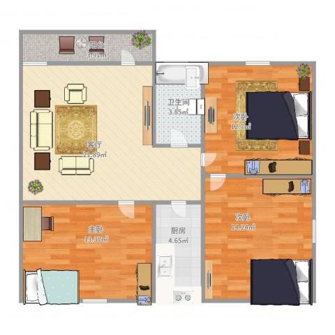金沙・山海名门3室1厅1卫1厨100.00㎡户型图
