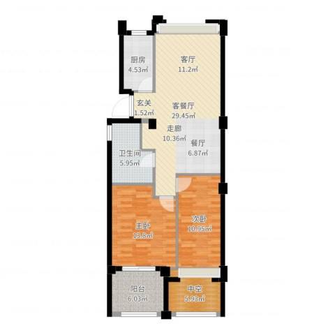 中企御品湾2室2厅1卫1厨96.00㎡户型图