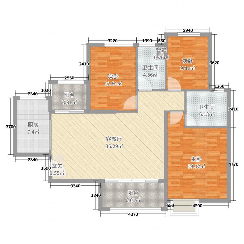 恒大翡翠华庭133.00㎡高层4#楼2户型3室3厅2卫1厨