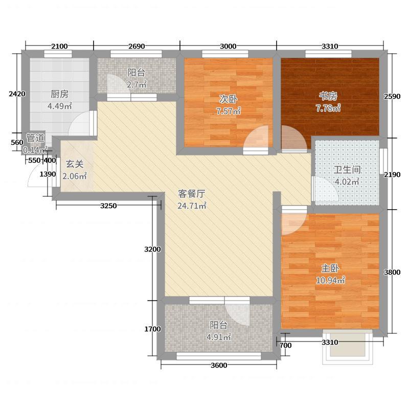 满堂悦MOMΛ96.77㎡F-1户型3室3厅1卫1厨