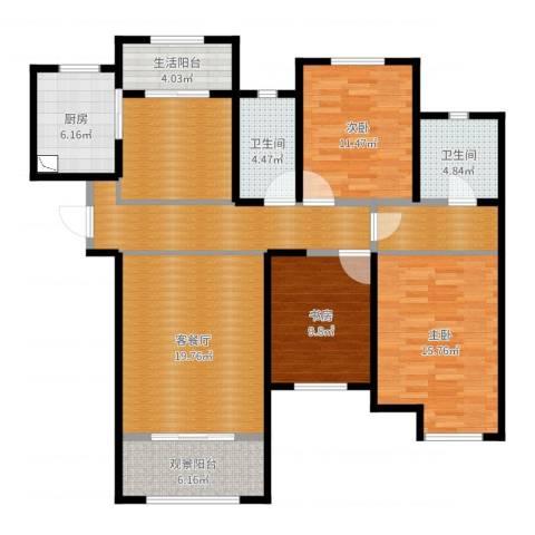 巴塞阳光3室2厅2卫1厨143.00㎡户型图