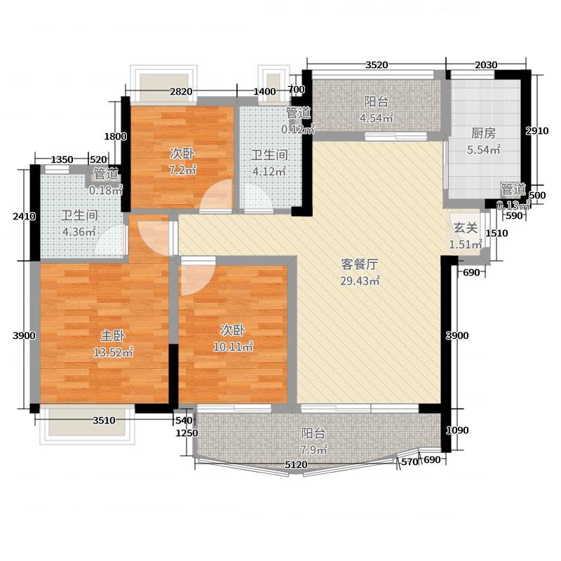 保利西海岸107.04㎡三期8栋01户型3室3厅2卫1厨