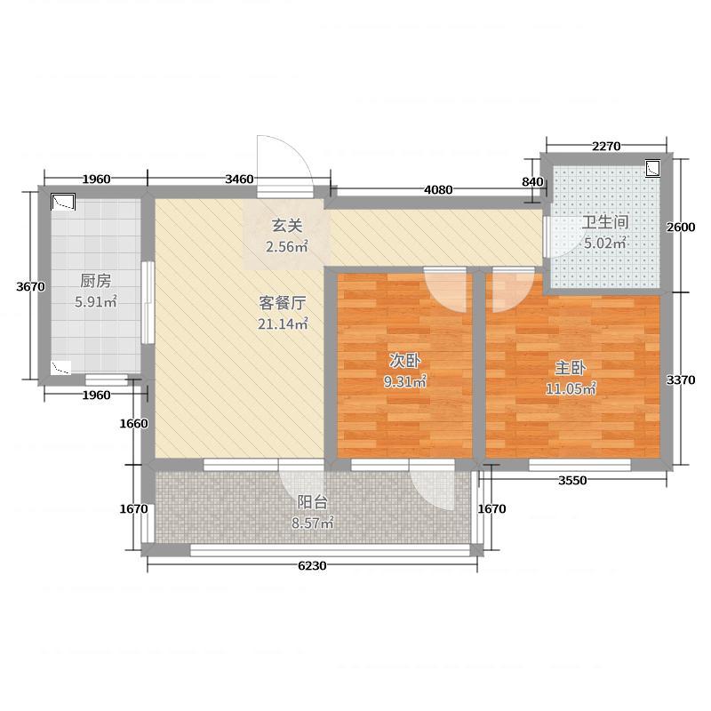 龙湖锦�U原著76.00㎡蓝湖公馆20--D户型2室2厅1卫1厨
