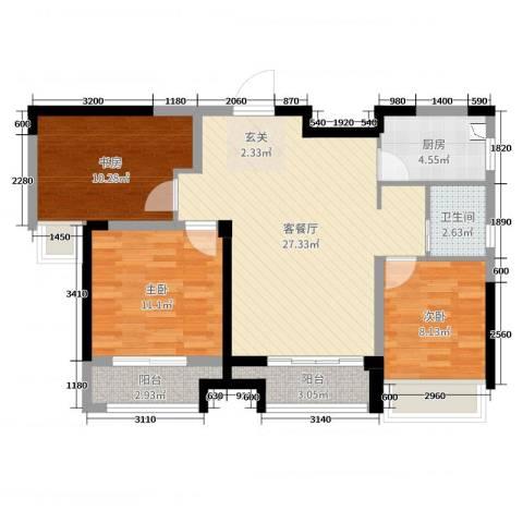 融科城3室2厅1卫1厨88.00㎡户型图