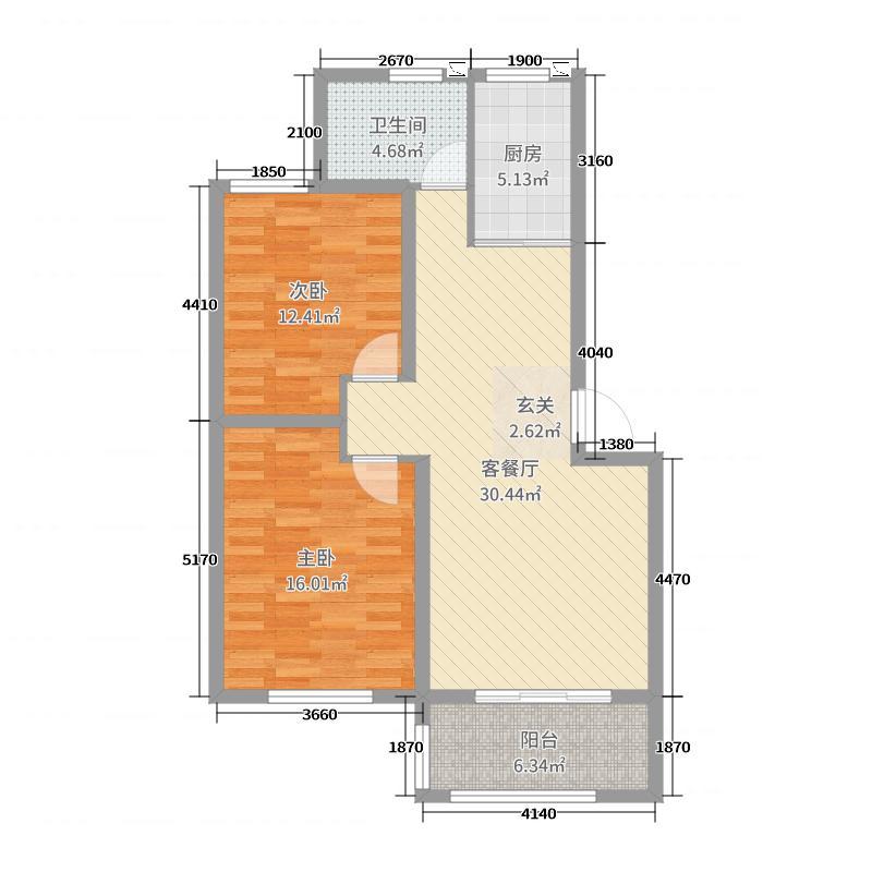 鲁发名城94.00㎡四期B户型2室2厅1卫1厨