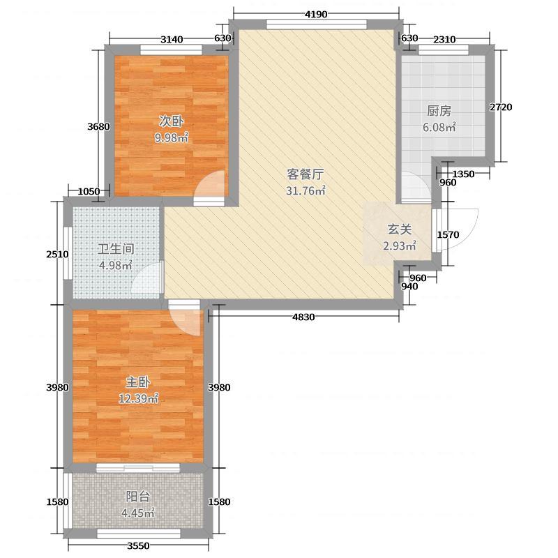 鲁发名城88.00㎡项目四期崇文郡125#137#高层A户型2室2厅1卫1厨