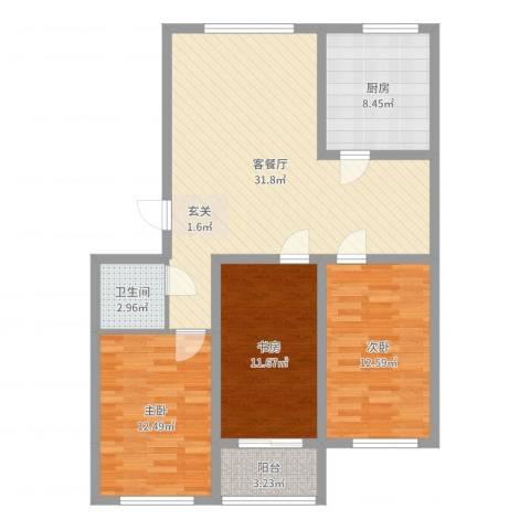 龙屿墅3室2厅1卫1厨104.00㎡户型图