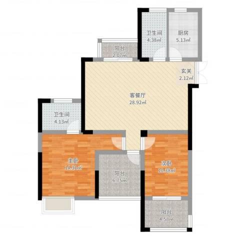 绿洲白马公馆2室2厅2卫1厨101.00㎡户型图
