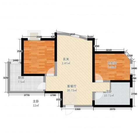 中迪创世纪广场2室2厅1卫1厨68.29㎡户型图