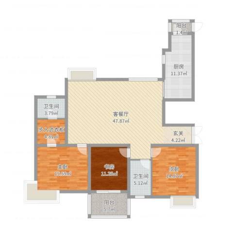 金广东海岸3室2厅2卫1厨152.00㎡户型图