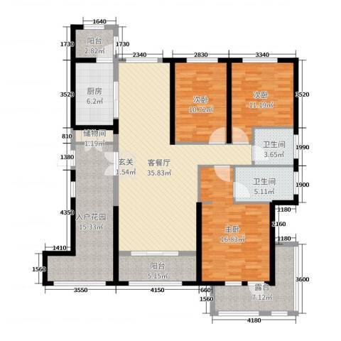 盟科涵舍3室2厅2卫1厨151.00㎡户型图