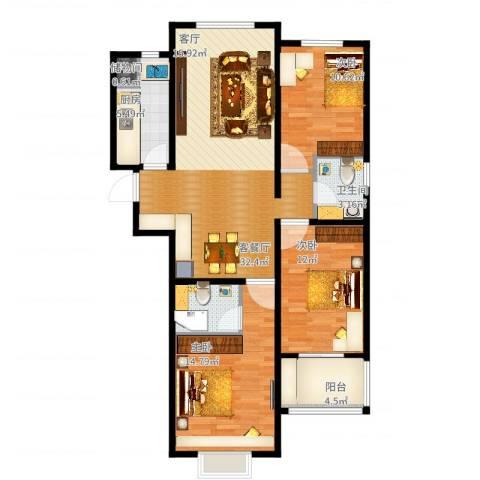 呈祥紫园3室2厅2卫1厨122.00㎡户型图