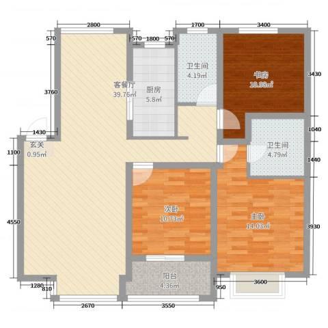 宏运凤凰新城一期3室2厅2卫1厨126.00㎡户型图