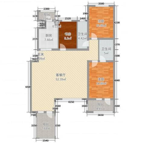 宏运凤凰新城一期3室2厅2卫1厨142.00㎡户型图