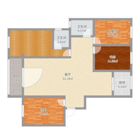 经典花园8号楼4单元7073室1厅2卫1厨157.00㎡户型图