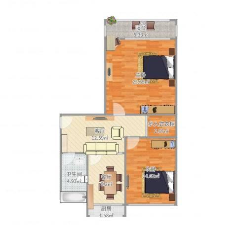 洪楼小区2室2厅1卫1厨92.00㎡户型图
