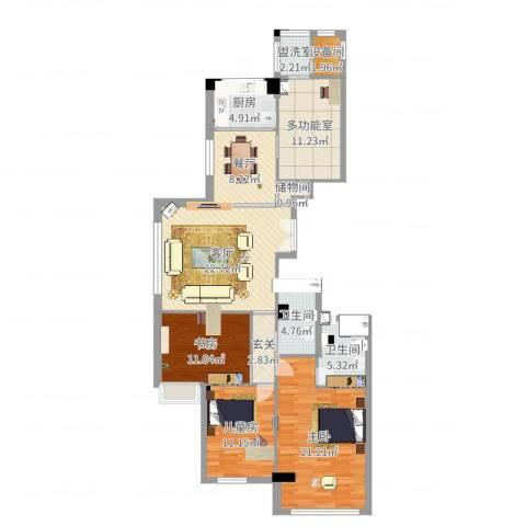 名仕花园3室4厅3卫1厨136.00㎡户型图