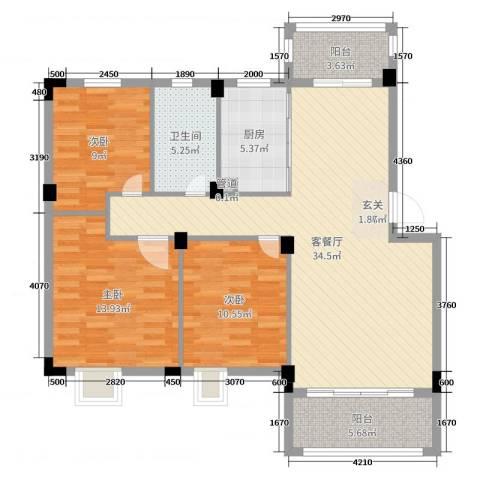 鸿威鸿景雅园3室2厅1卫1厨110.00㎡户型图